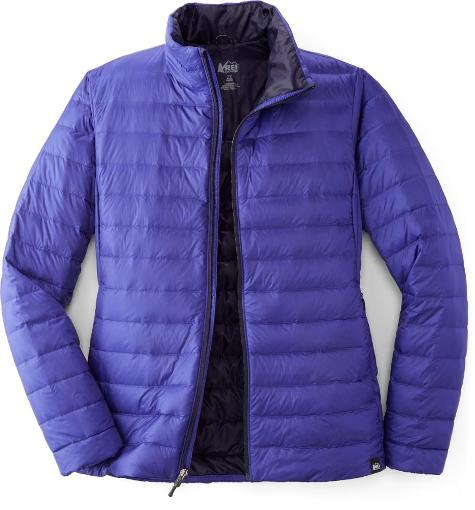 Purple zip up down jacket for hiking