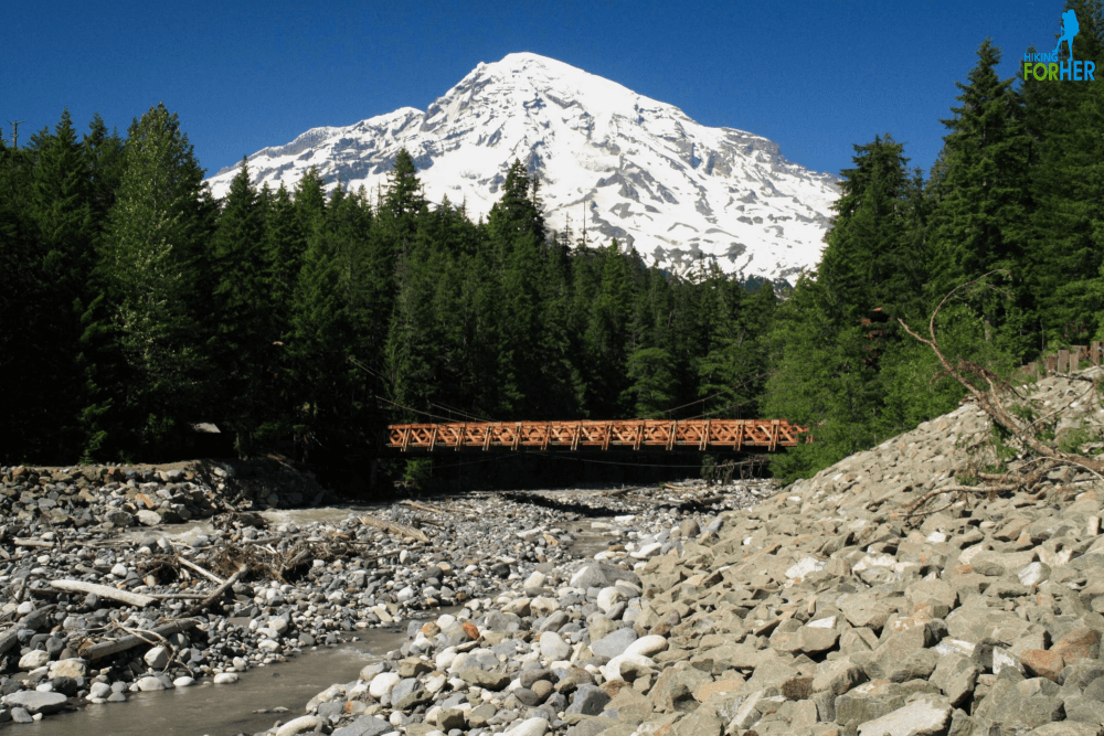 Mount Rainier seen from the suspension bridge over the Nisqually River
