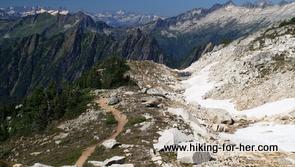 Hiking trail following mountain ridge