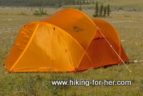 Bright orange backpacking tent