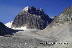 moraine and glacier in Ragged Range