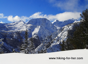 Snowy peaks and rugged mountain slopes