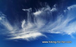Cirrus clouds in a bright blue sky