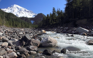 Roaring mountain stream with Mt. Rainier in background