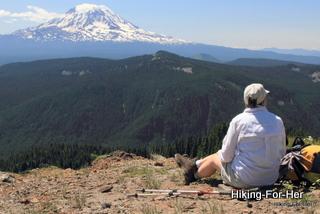 Female hiker enjoying a view of Mt. Adams in Washington State, USA