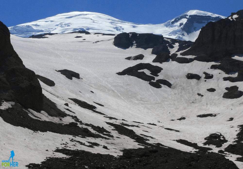 Head of Glacier Basin with view up to InterGlacier climbing route on Mount Rainier