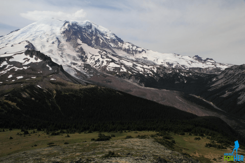Mystic Lake camping area on the flank of Mount Rainier, as seen from Skyscraper Peak