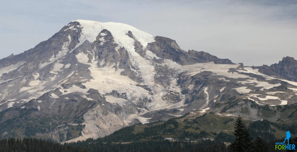 Mount Rainier and Paradise on a hazy day, from the vantage point of Pinnacle Peak Saddle