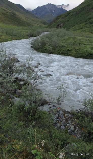 Fast flowing milky white river running off from steep mountains through a green and lush valley