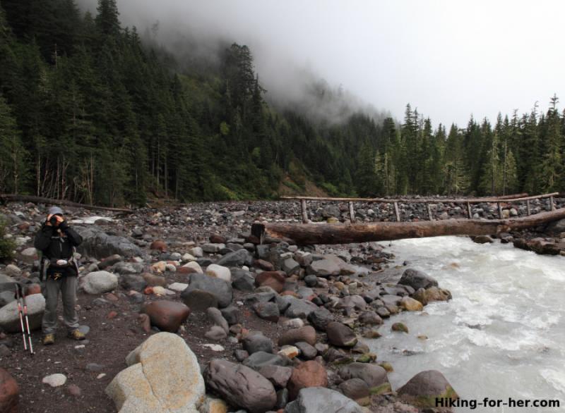 Hiker standing beside log bridge across the Nisqually River, Mt. Rainier National Park