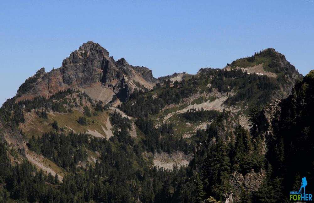 Pinnacle Peak and Plummer Peak in Mount Rainier National Park as seen from Eagle Peak