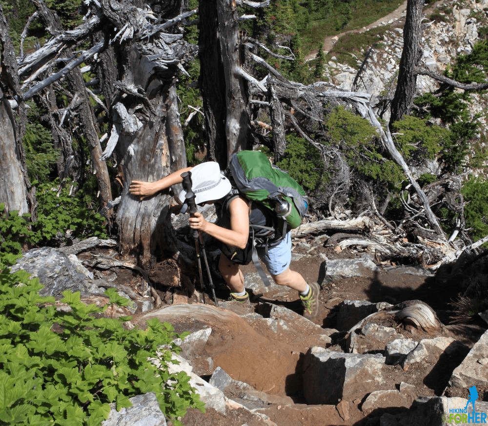 Female hiker with backpack and trekking poles climbing up steep trail
