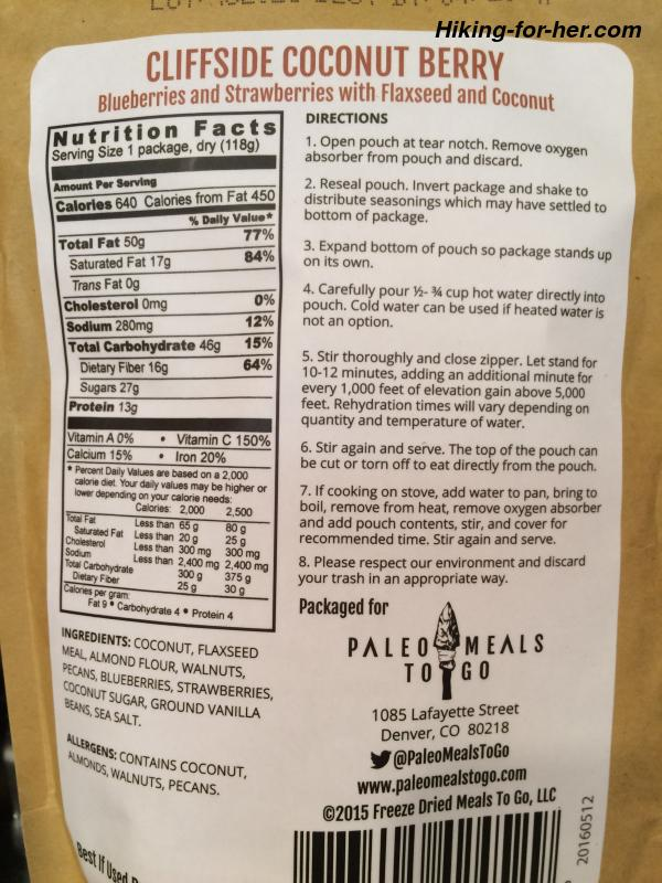 Front and back of freeze dried backpacking food packets