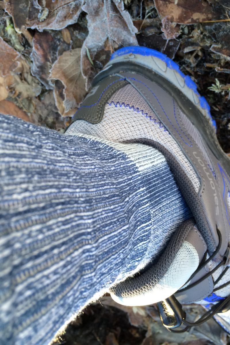 Navy blue hiking sock in trail shoe
