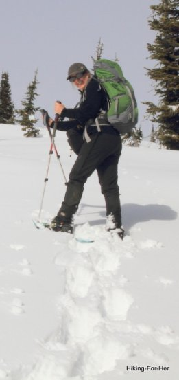 Female snowshoer with backcountry gear