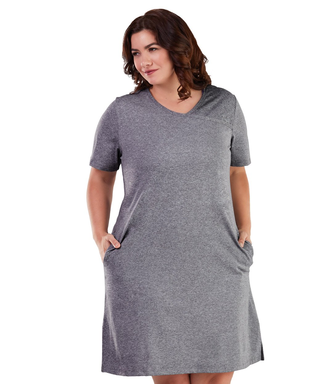 JunoActive gray short sleeved trail dress