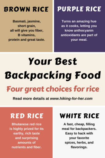 Choose and prepare your backpacking rice meals carefully, using these tips from Hiking For Her. #backpacking  #backpackingfood  #hiking