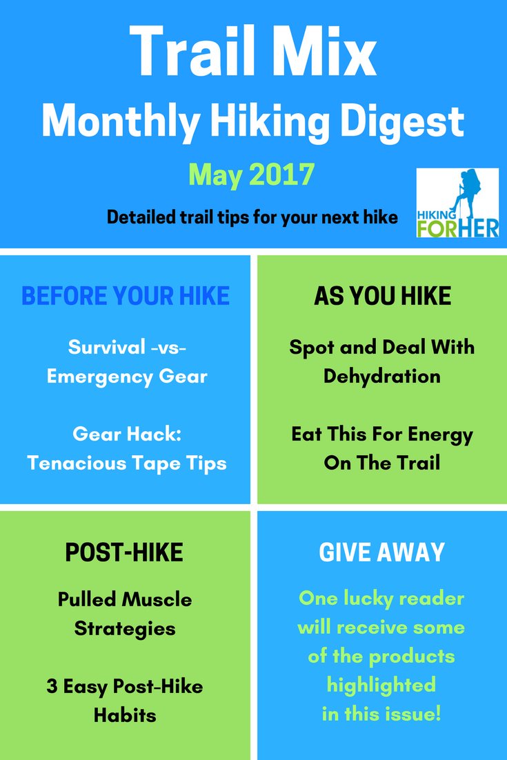 Lots of hiking tips from Hiking For Her in the May issue of Trail Mix: how to spot and handle dehydration, eating for energy on the trail, dealing with pulled muscles, and more.