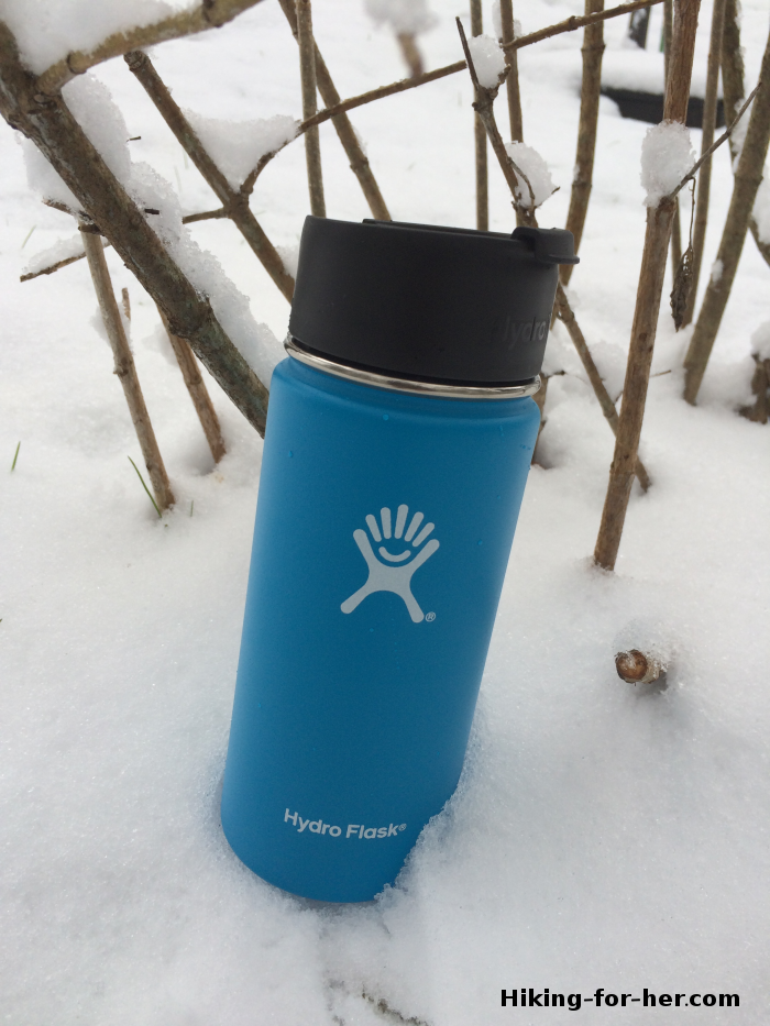 Blue Hydroflask in the snow