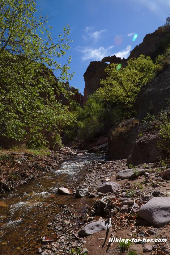 canyon with stream flowing through, surrounded by rocky cliffs