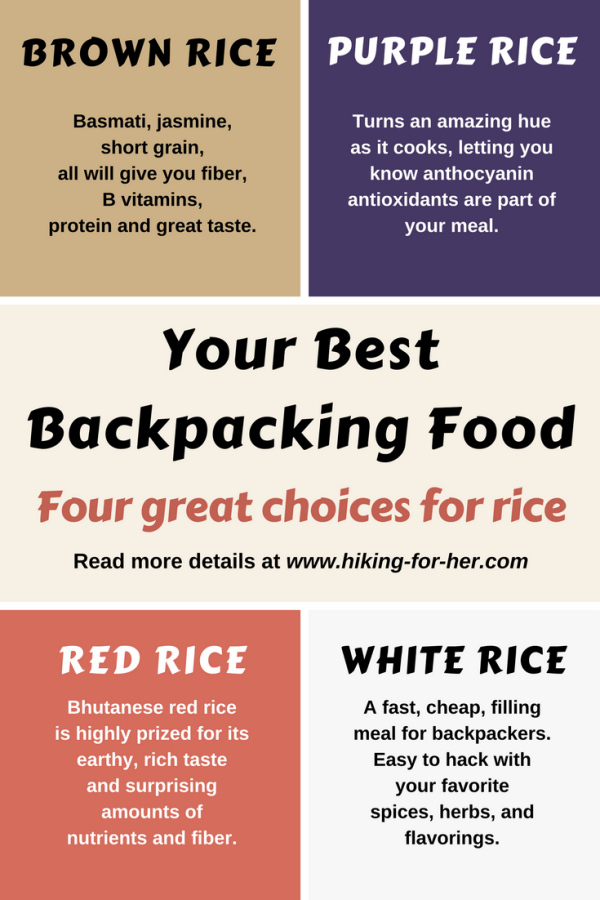 Which rice is the perfect choice for your backpacking menu? Find out at Hiking For Her.  #backpackingfood  #hiking  #trailfood