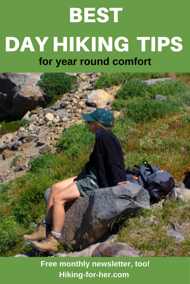 The best day hiking tips come from women who hike a lot, so trust Hiking For Her to give you detailed, easy advice for your next hike. #hiking #hikingtips #hikingsnacks