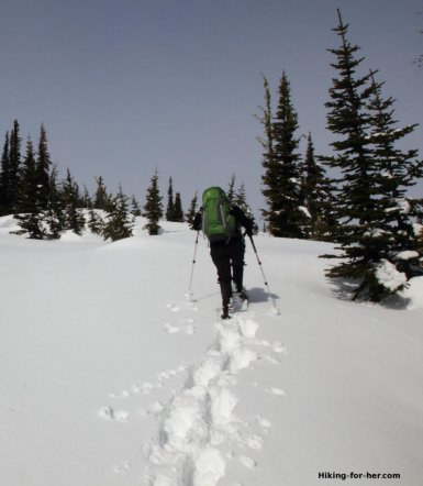 Snowshoers working hard going uphill need the best snowshoeing food.