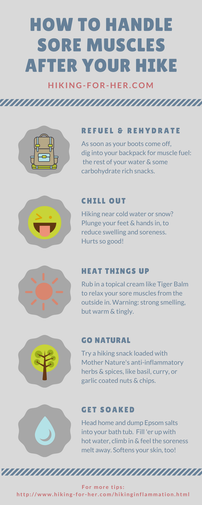 Sore muscles after hiking? Use these tips to handle muscle soreness and take good care of yourself. #hiking #backpacking #soreness