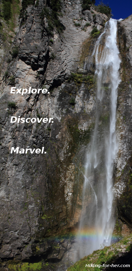 Hiking to a cascading waterfall with rainbow serves as inspiration to hit the trail.