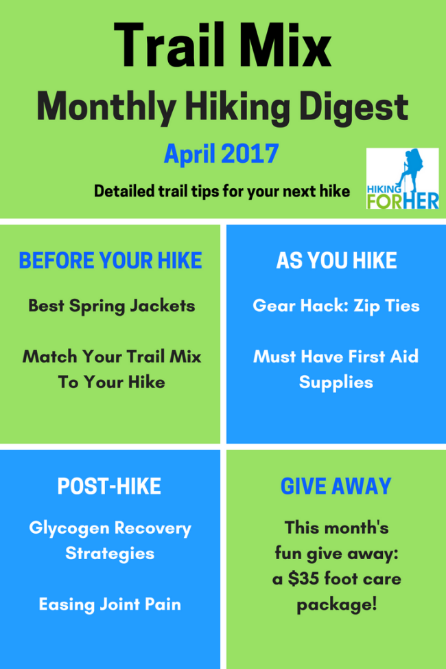 Get some tasty, fresh Trail Mix at Hiking For Her! This issue is packed full of detailed hiking tips for before, during and after your hike. Freebies, too!