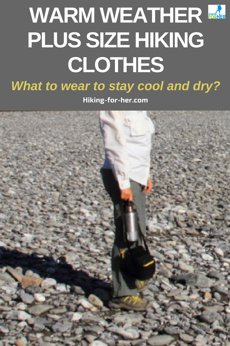 Warm weather plus size hiking clothes will keep you as cool and dry as possible on the trail, with these tips from Hiking For Her. #hiking #backpacking