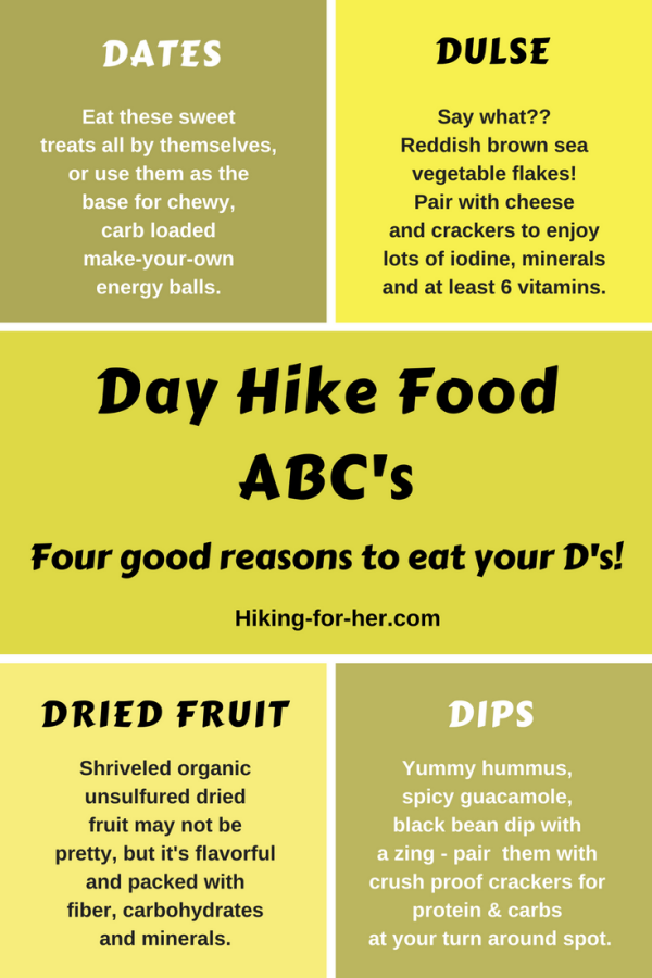 Dare to be different on your next day hike with these delicious letter D snack ideas from Hiking For Her. #hiking #backpacking #trailfood #hikingsnacks