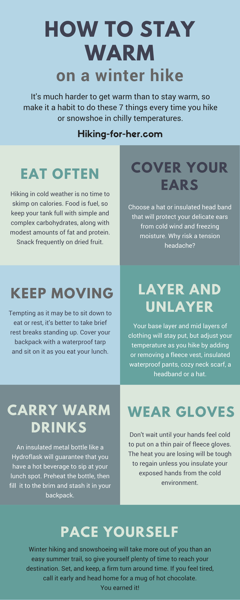 Tips for how to stay warm on a cold weather hike, from Hiking For Her #hiking  #hikingtips  #outdoorsafety