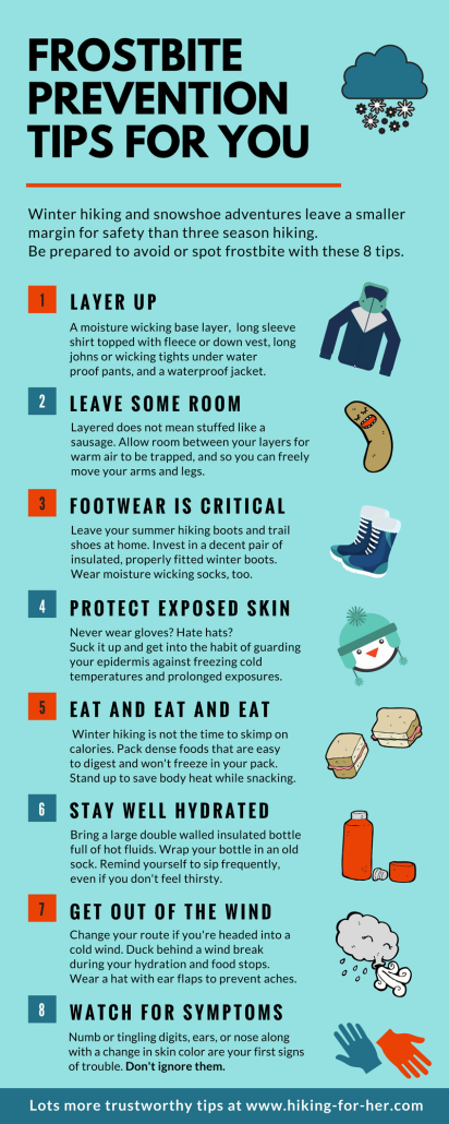 Winter hiking and snowshoeing demands extra safety precautions. Use these 8 tips to prevent frostbite, from Hiking For Her. #snowshoeing #hiking  #outdoorsafety