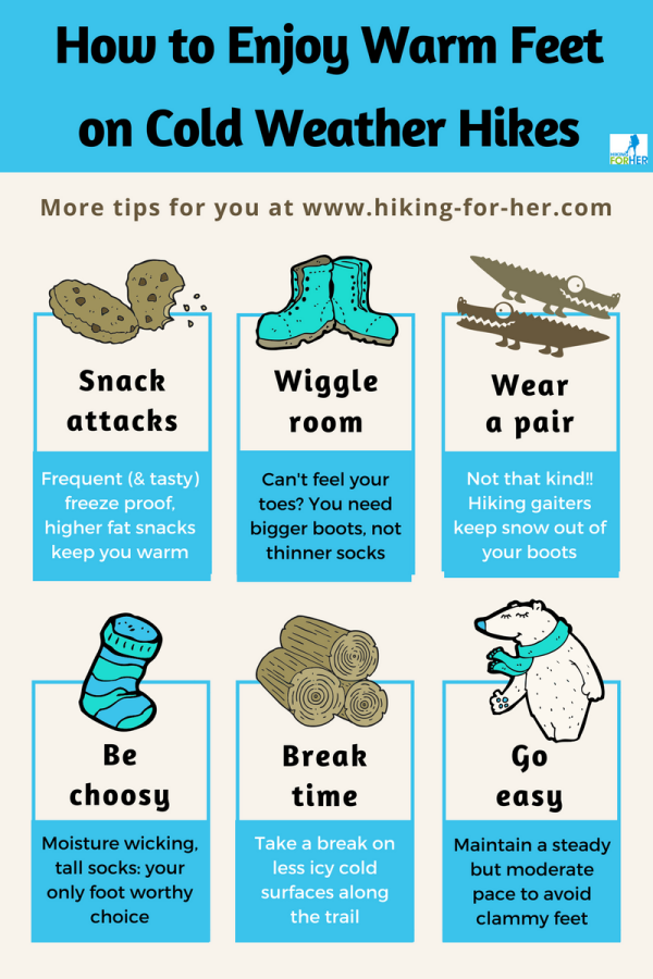 Warm feet on a cold hike: these tips from Hiking For Her will make it happen! *hiking #hikingtips #backpacking #winterhikes