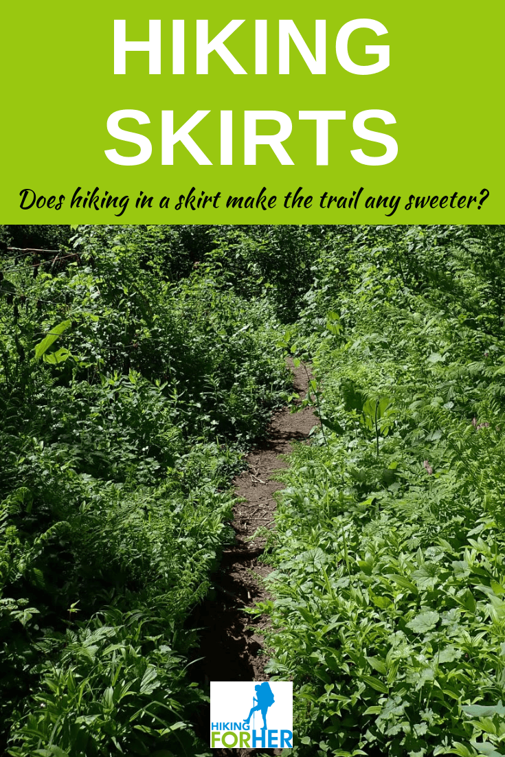 Hiking skirts can give you freedom but also present problems with modesty and skin protection. Hiking For Her sums it up for you! #hikingskirts #hiking #backpacking #hikingclothing #skirts
