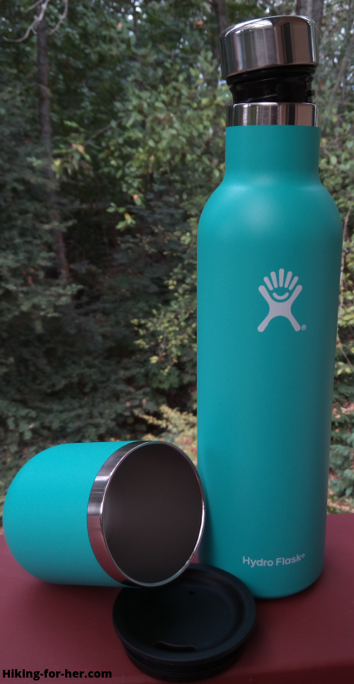 Hydroflask wine bottle and tumbler in mint green, with lids