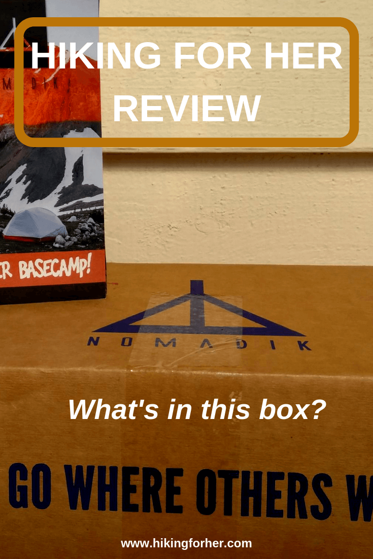 The Nomadik subscription box is reviewed by Hiking For Her. #nomadik #hiking #backpacking #subscriptiongearbox #outdoorgear