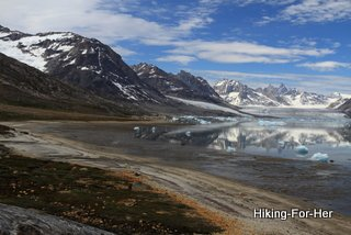 View of glaciers and icy cold ocean, East Greenland