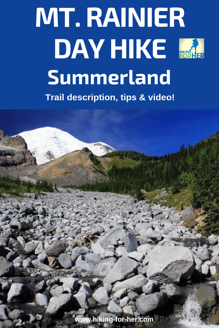 Summerland is an iconic Mount Rainier day hike. Read the trail description and enjoy a video before you head out. #mtrainierhikes #dayhikerainier #hikingforher #bestrainierhikes