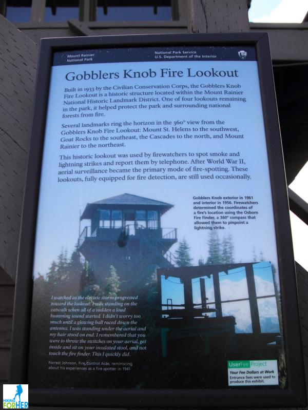 Gobbler's Knob fire lookout tower sign explaining the history of the structure