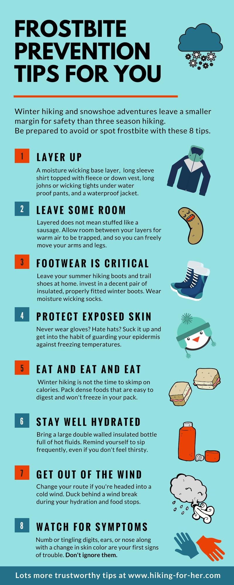 Frostbite and hikers aren't a good match. This infographic gives you tips to keep yourself safe on a cold weather hike. #frostbiteprevention #winterhiking #hiking #backpacking #outdoorsafety