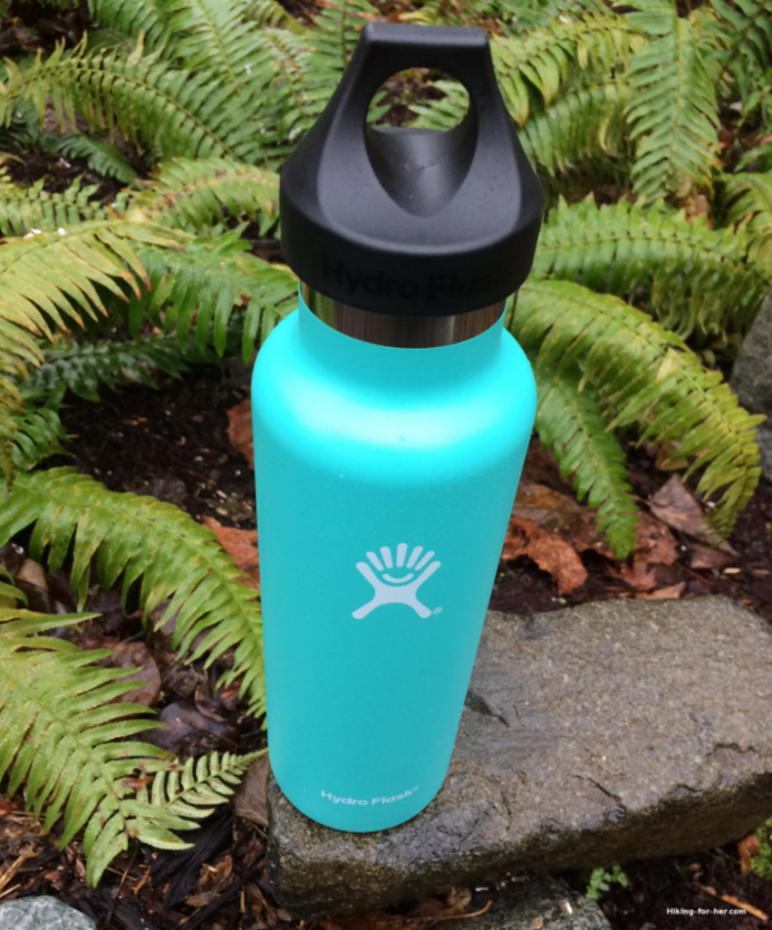 Green Hydroflask on a rock surrounded by sword ferns