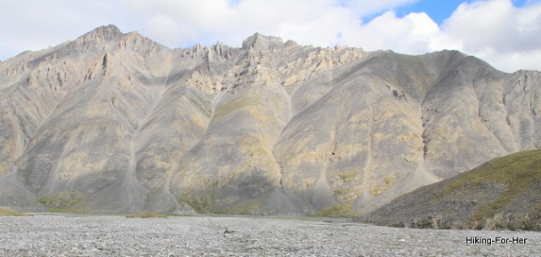 Stark mountains in bright sunlight