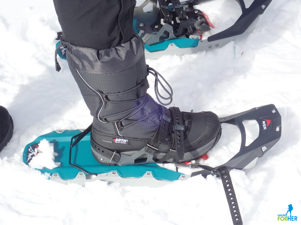 MSR snowshoes on Baffin boots