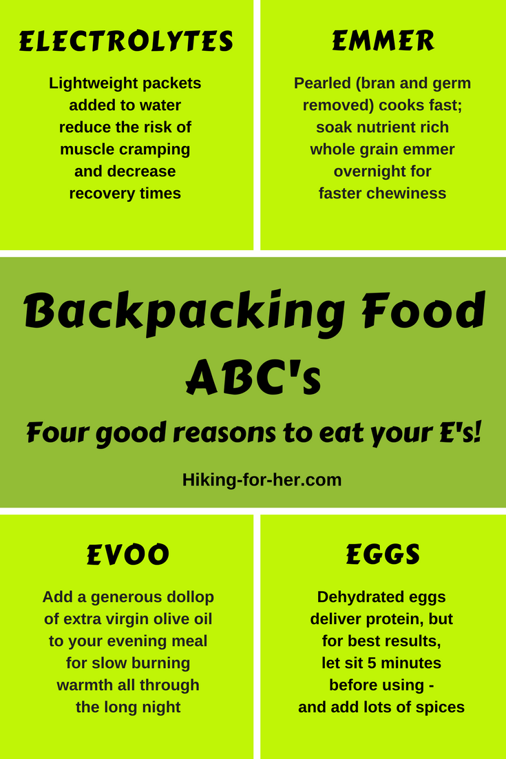 Eat your E's on your next backpacking trip! Hiking For Her makes it easy with these backpack menu tips. #backpacking #backpackingfood #hiking #trailfood