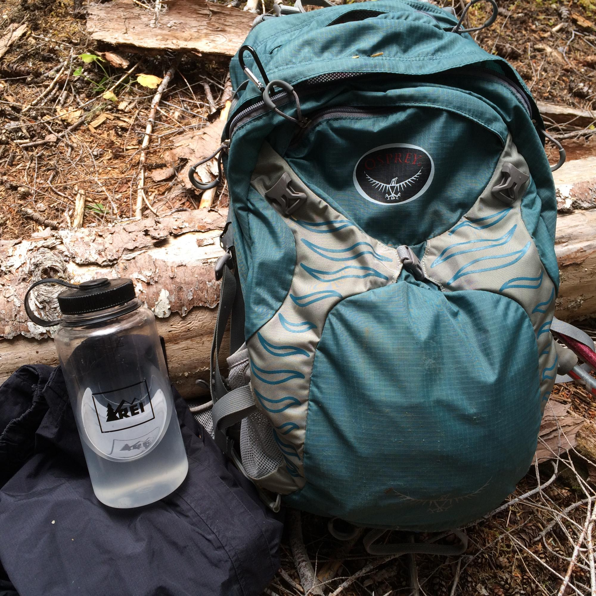 Hiking backpack and hiking water bottles