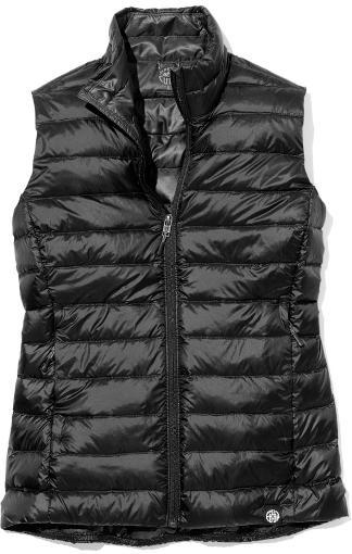 Women's black down vest for hiking