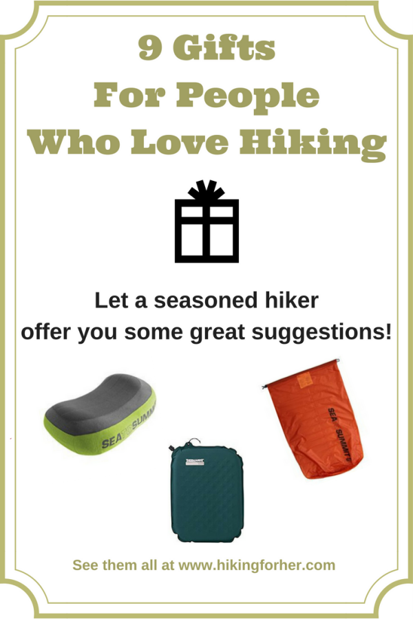 9 gifts for people who love hiking, from Hiking For Her. Inexpensive, practical, and versatile gifts for your hiker. #hiking #hikinggifts #outdoorsgifts #hikers