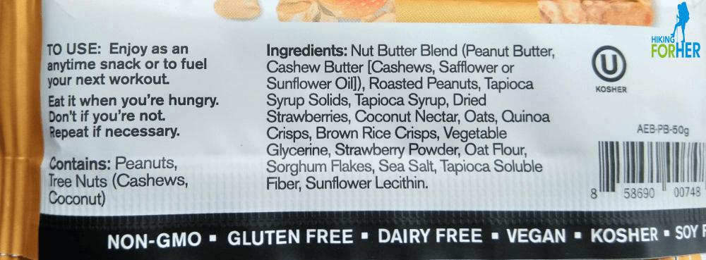 Ingredient list on Skratch energy bar wrapper